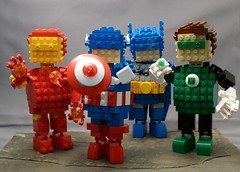 LEGO  Chibi-Heroes (Reasonably Clever Chris) Tags: dc lego ironman batman marvel greenlantern captainamerica