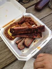 Original Burns BBQ - 3 meat plate (houstonfoodie) Tags: beans houston bbq barbecue ribs brisket originalburnsbbq