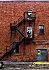 Dupond et Dupont live upstairs (marianna armata) Tags: hss charlie chaplin black metal stairs staircase red brick building city urban montreal mariannaarmata
