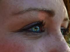 Don't Believe What Your Eyes Tell You (elliedef) Tags: blue green eye colors eyes aqua eyelashes makeup eyeball mascara freckles