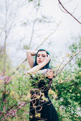 16/52 (Courtney Sinclair) Tags: flowers blue black nature floral beauty fashion forest dark hair cool woods purple lace exploring dreary dreamy framing tones witchy woodsy 52weeks