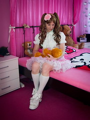 Little girl (blackietv) Tags: pink white bedroom lace skirt crossdressing blouse tgirl transgender lolita teddybear transvestite plushie crossdresser petticoat frilly
