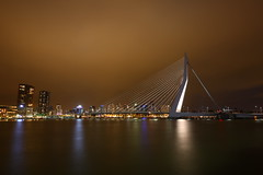 Erasmusbrug (Mettwoosch) Tags: longexposure trip travel bridge vacation sky holiday holland water netherlands skyline architecture night clouds canon river lens eos lights swan rotterdam wasser cityscape nacht outdoor urlaub himmel wolken wideangle architektur maas brcke fluss ef lichter niederlande langzeitbelichtung weitwinkel 5dm3