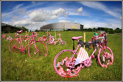 Pretty in Pink? (Jason 87030) Tags: road pink bike clouds race women pretty tour roundabout northamptonshire sunny icon flags event northants aviva bycicle daventry clycling