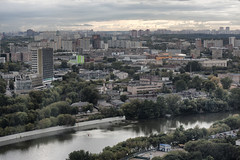 One of the central districts of Moscow (Khuroshvili Ilya) Tags: city trees summer urban streets reflection weather architecture clouds buildings river office industrial view flat russia moscow horizon flats blocks offices fili moskva feelee dorogomilovo