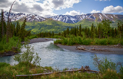 Eagle River Alaska (ronWLS) Tags: blue trees sky mountains green alaska clouds river