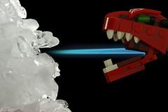 Dragon Fire -vs- Ice (JTTrey) Tags: macro ice fire lego lowkey softbox hotcold canonspeedlite580ex strobist macromondays radiopopper