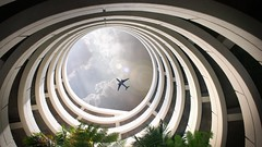Overhead - in Color (ShutterJack) Tags: sandiego airport architecture building california circles concentric parkinggarage plane spiral travel upward urban evanvjones parkade