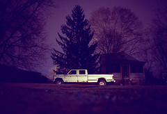 (patrickjoust) Tags: auto road county street usa house tree car night analog america truck 35mm dark us md focus automobile long exposure suburban kodak united north patrick maryland ground rangefinder olympus baltimore evergreen 100uc vehicle after suburb states manual xa joust range finder zuiko f28 estados unidos autaut patrickjoust