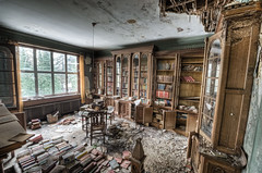 A good book gathers no dust (odin's_raven) Tags: old urban house abandoned library exploring explorer books manor raven hdr urbex odins talkurbex odinsraven abandonedmanorhouse