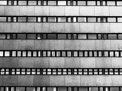 Inanimate (Rutger Blom) Tags: windows blackandwhite bw building facade hospital concrete pattern sweden canonpowershots100 universitetssjukhus 5226mm