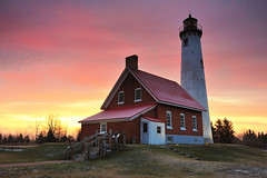 Tawas Point Lighthouse, East Tawas, Michigan (Michigan Nut) Tags: park sky usa sun lighthouse brick nature clouds sunrise geotagged photography midwest state michigan landmark lakehuron tawas daybreak johnmccormick tawaspointlighthouse michigannutphotography