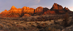 Twilight Zion National Park Panorama (Joe Y Jiang) Tags: trees sunset red mountains art nature water sunrise landscape dawn golden nationalpark twilight sandstone colorful large melody zion morningglory sanddunes sweeping panoroma mudstone nikond700 gitzogt2530 firstbeam shinarumpconglomerate nikkor1635mmf4g towersofthevirginandthewesttemple erodedmoenkopirubble markinsqballq10 singhray2stopgndsoft