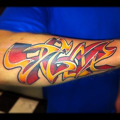 """Vigor""... 1st sitting done!  #graffiti #tattoo #scottwhite #alteredstatetattoo"