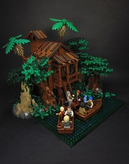 Tia Dalma's Shack (Walter Benson) Tags: trees house tree water forest boats lego pirates scene disney growth bayou cotton swamp caribbean shack johnnydepp diorama piratesofthecaribbean waltdisney davyjones jacksparrow waltdisneypictures deadmanschest tiadalma jarofdirt bignette joshameegibbs