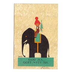 Einar Nerman postcard - boy with elephant (Wooden donkey) Tags: christmas boy elephant vintage postcard card einar nerman