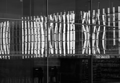 (jordi.martorell) Tags: uk urban blackandwhite bw reflection london blancoynegro station architecture train geotagged nikon bn reflejo guessed olympics carpark westfield guesswherelondon 1855mmf3556g stratford 2012 blancinegre reflexe gwl d40 nikond40 stratfordinternational guessedbygreenpiano1 guessedbyjim529