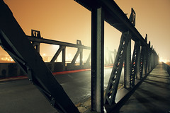 Bridge (STEFFEN EGLY) Tags: city longexposure bridge light orange metal fog architecture canon cityscape steel foggy flare architektur ulm langzeitbelichtung diffusedlight 1585mm