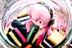 Liquorice Allsorts: (Sparkey Davis) Tags: pink orange cute green glass toy japanese colours candy stripes jar octopus sweets collectible liquorice licorice lollies puchi petit confectionary candyjar lollyjar goodsmilecompany nendoroid volcaloid megurineluka takoluka