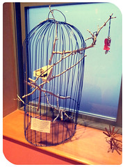 I know why the Caged Bird sings (Moon Memento    ) Tags: college japanese origami cage 2012 mayaangelou origamicrane cagedbird origamibird paperbird japanesepaperfolding japaneseorigami