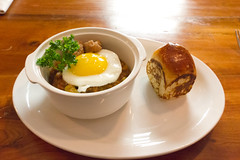 Tiny sausage and sweet bread stew (Renée S. Suen) Tags: toronto tomato bread tail egg sausage bean pork roll parsley sweetbread pigtail hock offal parkerhouse flageolet renéedinesout geoffhopgood hopgoodsfoodliner