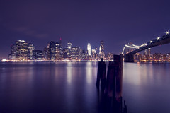 Downtown (Fabio Sabatini) Tags: nyc newyorkcity longexposure light brooklyn night manhattan wideangle brooklynbridge downton