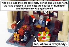Harry Potter and the Missing Houses (Oky - Space Ranger) Tags: house hall student funny lego great harry potter boring ron professor hogwarts hermione slytherin dumbledore licensed eliminate hufflepuff weasley gryffindor ravenclaw