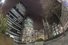 Lurking by the Gherkin Explore #15 (odin's_raven) Tags: city london st 30 night lights mary fisheye axe raven 16mm gherkin hdr odins d700 odinsraven
