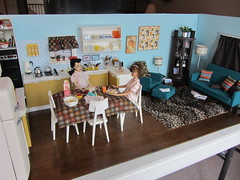 Completed Kitchen & Living Room Diorama (Foxy Belle) Tags: morning food 3 scale kitchen modern breakfast vintage reading miniatures living chair mod doll paint furniture ooak deluxe room barbie spray retro sofa ponytail 16 1960s ottoman dishes rement pajamas mattel diorama cabinets pyrex dollhouse corning ware 1960 midge sindy foxybelle playscale