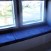 blue window seat cushions