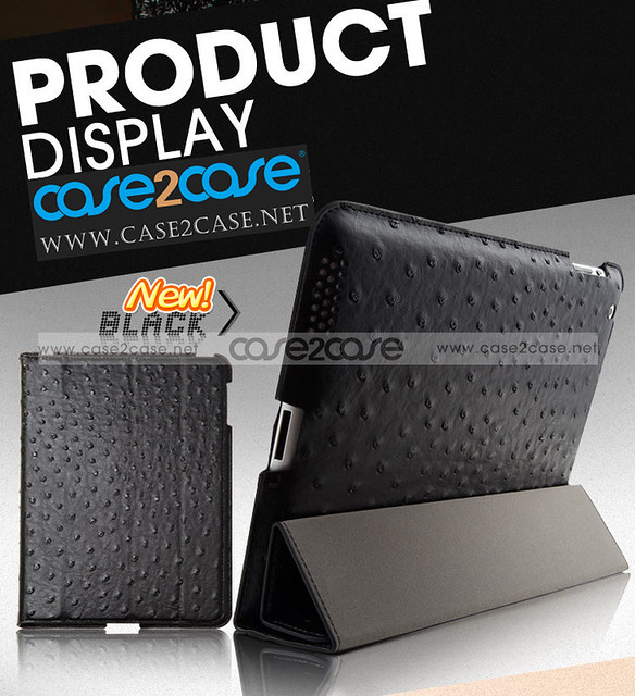 Ostrich Leather smart cover with back cover for ipad 2 IPAD 3 Black