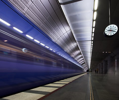 time (Andreas Hagman) Tags: longexposure people clock lines architecture speed train square time sweden platform fast tunnel motionblur le rush squareformat commute commuter late toolate publictransport scandinavia stress malm focalpoint blurredpeople uwa sigma1020mm contemporaryarchitecture sonyalpha citytunneln nd500 lightcraftworkshop stationtriangeln slta77