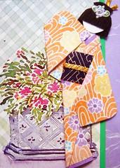 ATC932 - Geisha at the hotel lobby (tengds) Tags: flowers orange atc lavender geisha kimono obi papercraft japanesepaper washi ningyo handmadecard chiyogami magazinecutout yuzenwashi japanesepaperdoll nailsticker origamidoll tengds origamiwashi
