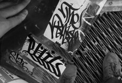 Base, Phil and Sloth (mike ion) Tags: nyc newyorkcity ny newyork graffiti sticker phil manhattan tag sloth base newsbox handstyle baser