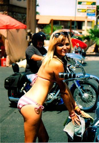 Hot nude girl on car