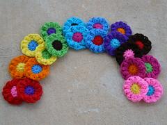 A rainbow of flowers (crochetbug13) Tags: flowers flower circle circles crochet yarn round fatbag
