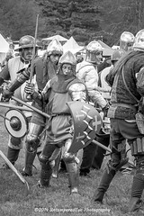 [2014-04-19@15.16.33a] (Untempered Photography) Tags: history monochrome costume fight helmet battle medieval weapon sword knight shield combat armour reenactment skirmish combatant chainmail spear canonef50mmf14 perioddress polearm platearmour gambeson poleweapon mailarmour untemperedeye canoneos5dmkiii untemperedeyephotography glastonburymedievalfayre2014