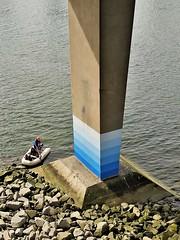 low tide (SqueakyMarmot) Tags: vancouver falsecreek column fairview cambiestreetbridge rubberdinghy inflatableboat spyglassplace