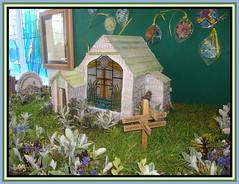 Flower Festival.4 (Margaret Edge the bee girl) Tags: flowers building green church window grass garden model foliage indoors stjosephs signpost turf dinnington