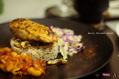There is only one right way to eat a steak - with greed in your heart and a smile on your face. (shadman ali) Tags: food macro chicken canon eos 50mm salad dof rice bokeh foodporn steak dhaka bangladesh foodie beens shadman banani foodphotography foodography chickensteak 700d canon700d t5i canont5i shadmanali 50mmstm shadmanaliphotography shadmanphotography arestoran