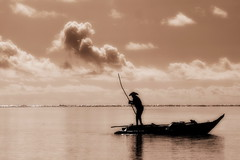The fisherman (antony5112) Tags: sea sepia clouds boat fisherman barca nuvole mare zanzibar pescatore seppia piroga