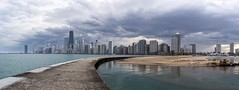 Chicago skyline..... (Kevin Povenz) Tags: street city sunset chicago storm reflection beach clouds buildings evening pier downtown cityscape dusk pano stormy panoramic lakemichigan april stormyweather 2016 illinios northshorepark canon7dmarkii kevinpovenz