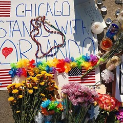 #Repost @chicagotribune  A memorial shows Chicago support on Monday, June 13, 2016 at corner of West Roscoe and Halsted streets in Chicagos Boystown neighborhood for shooting victims in the Orlando nightclub mass shooting. Jose M. Osorio/Chicago Tribu (southportcorridorchicago) Tags: instagramapp square squareformat iphoneography uploaded:by=instagram chicago southportcorridor southport lakeview wrigleyville westlakeview urban summer 2016
