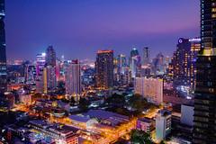 Bangkok Lights (Shane Hebzynski) Tags: city pink sunset sky urban skyline night thailand nikon asia cityscape bangkok hdr sathorn chongnonsi