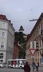 Looking up in Graz, Austria (eltpics) Tags: street castle sign austria town graz roadtrain centraleurope eltpics