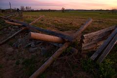 Quiet Sunset on the Fields of Gettysburg (SunnyDazzled) Tags: park light sunset sky monument stone fence evening wooden lowlight memorial war glow pennsylvania fences gettysburg civil national patriotism