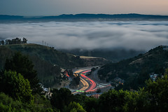 lead us out of the fog (pbo31) Tags: california sunset motion color silhouette june fog oakland evening spring nikon highway marine view traffic over bayarea layer 24 eastbay curve alamedacounty 2016 lightstream boury pbo31 d810 hillerhighlands