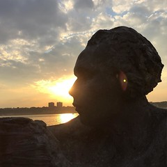 #statue #art #uws #riversidepark #manhattan #nyc #sunset #sky (yclorfene) Tags: nyc sunset sky art statue manhattan riversidepark uws