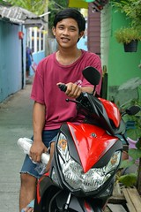 young man and his motorcycle (the foreign photographer - ) Tags: man standing portraits thailand nikon bangkok young motorcycle khlong bangkhen thanon d3200