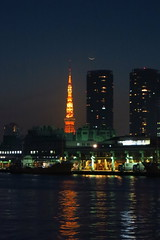 crescent above Tsukiji (HAMACHI!) Tags: light sky moon japan architecture night canon river tokyo evening market dusk powershot crescent tsukiji tokyotower fishmarket 2012 s100 powershots100